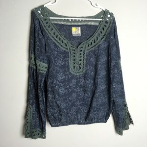 Free People Loose Fit Boho Long Sleeve Top- I